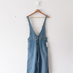 NWT Free People Light Wash Overalls